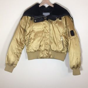 Nike Gold Satin Puffy Bomber Jacket, Size L